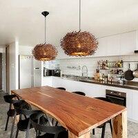 Творческий Nordic люстра дерево ротанга ремесло Птичье гнездо Ресторан огни Американская деревня пастырской подвесные светильники Спальня С