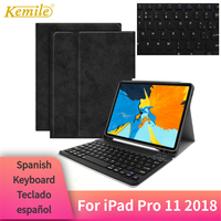 Kemile For iPad Pro 11 2018 Case Bluetooth Keyboard W Pencil holder Smart stand Cover For iPad Pro 11 Case Spanish Keyboard