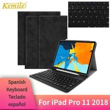 """Kemile pour iPad Pro 11 """"2018 étui clavier Bluetooth W porte crayon support intelligent couverture pour iPad Pro 11"""" étui clavier espagnol"""