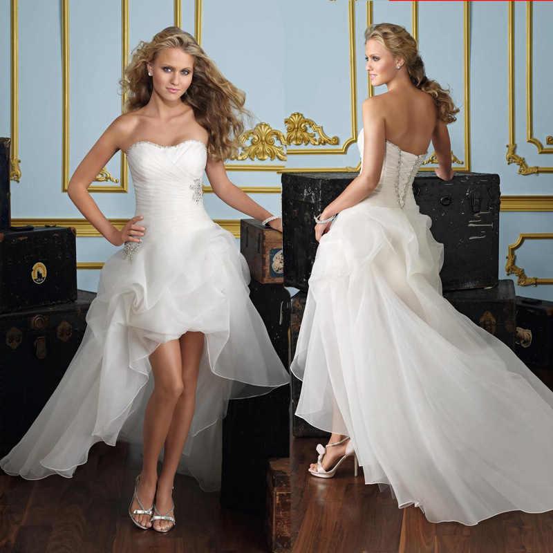 2019 כדור שמלות מיני קצר אופנה כלה שמלה מתוקה עטוף שכבות אורגנזה טול גבוהה נמוך סטרפלס בתוספת חתונה שמלה