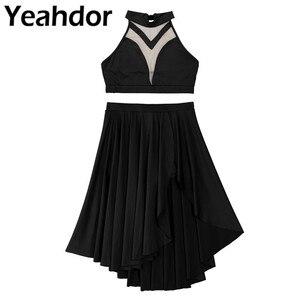 Image 1 - を内蔵したレディース非対称叙情的なダンスクロップトップショーツスカート衣装ホルターネック背中ダンスウエディングパフォーマンス