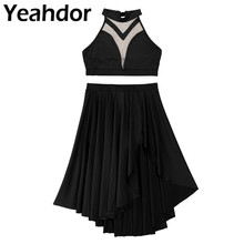 Womens Asymmetric Lyrical Dance Crop Top with Built In Shorts Skirt Outfits Halter Neck Backless Dance Set for Prom Performance