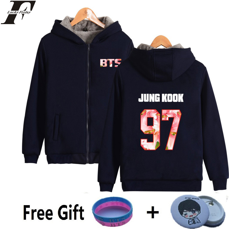 BTS man and Women Sweatshirt Hoodies Korean Bangtan Hip Hop Coat Winter Thicker Harajuku Female Zipper Clothe