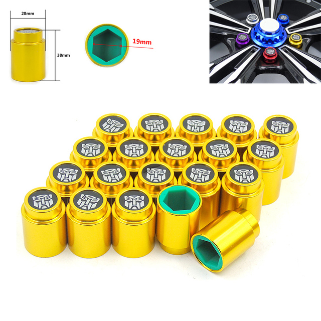 20pcs 19mm Aluminum/Silicone Wheel Screw Bolts Lug Nuts Cap Cover Protector YC101008