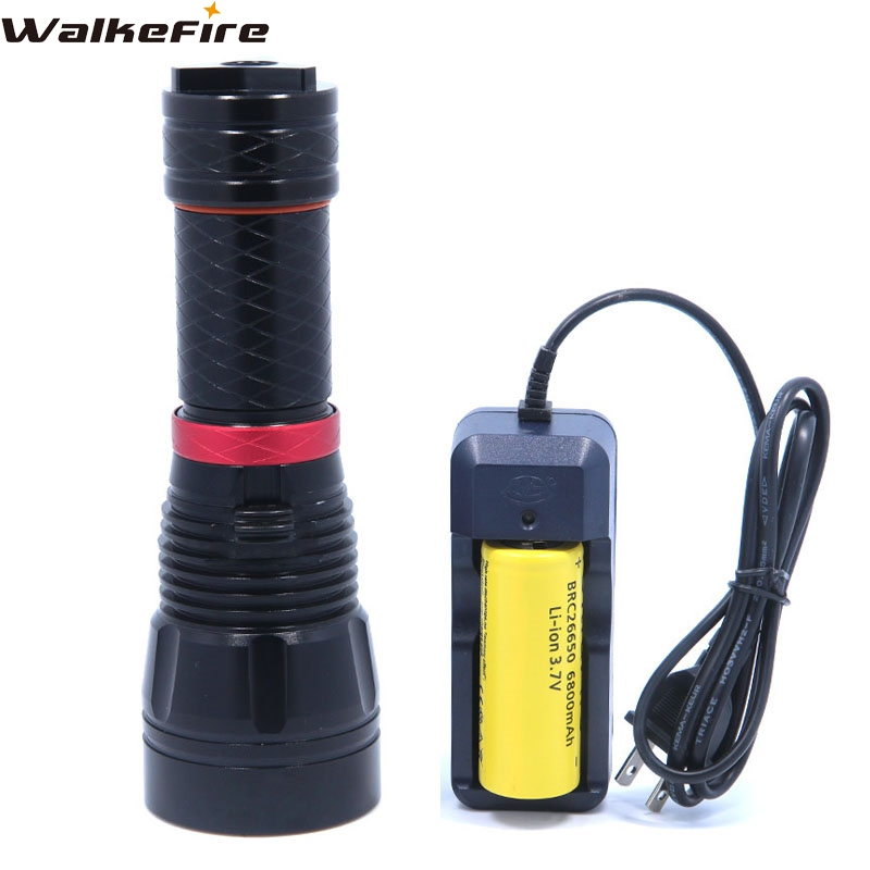 3800LM XM-L2 LED Dive Waterproof Underwater Diving Flashlight Torch Lamp Light with 1*26650 rechargeable Battery & charger