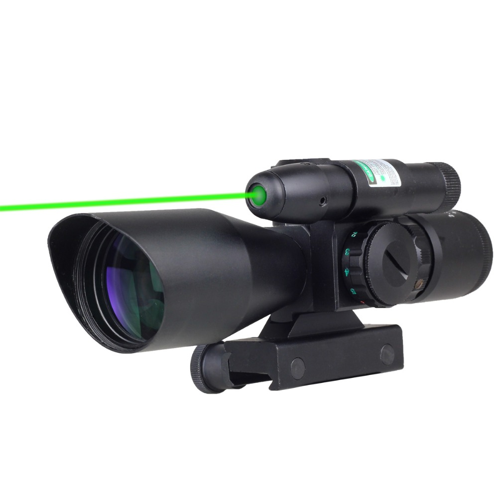 Tactical 2.5-10x40 Red Green Mil-dot Rifle Compact Scope riflescope red w/ Green Rail Laser free shipping 3 10x42 red laser m9b tactical rifle scope red green mil dot reticle with side mounted red laser guaranteed 100%