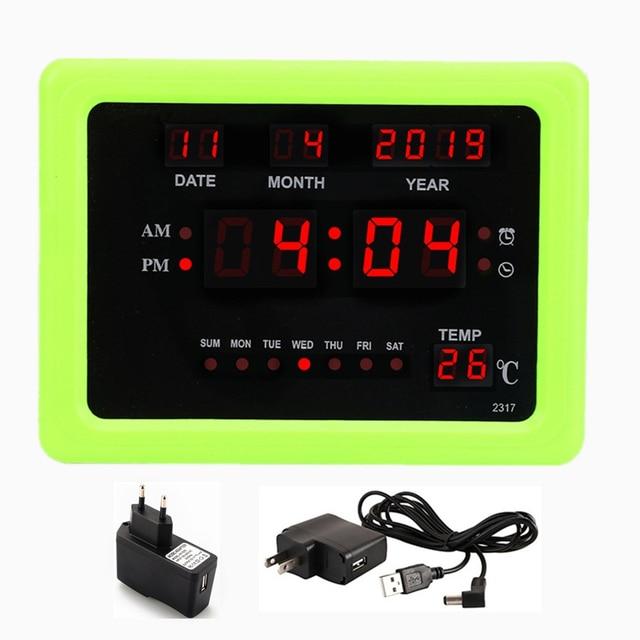 Personal Bedroom electronic LED alarm clock Desktop digital calendar clock with thermometer Wall decor hanging clock