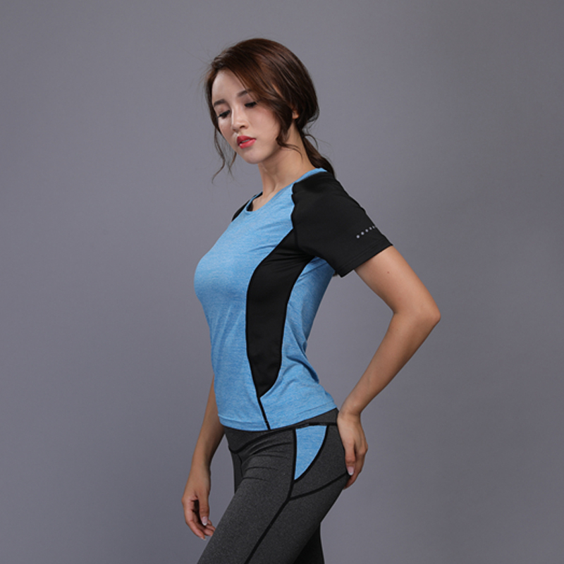 Hot Sale Yoga Top Gym Compression Women Sport T-shirts Dry Quick Running Short Sleeve Fitness Womens Clothes Tees Tops