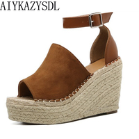 DiJiGirls Summer Women Peep Toe Faux Suede Ankle Sptra Sandals Woman Hemp Straw Rope Platform Wege