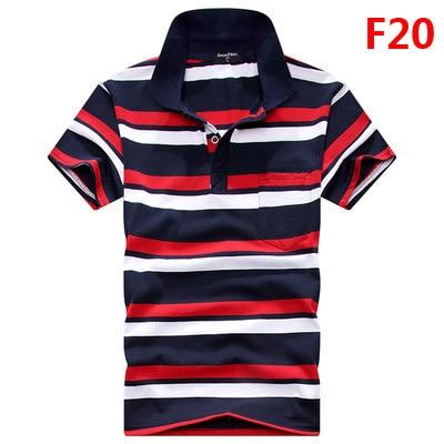Verano 2017 hombres camisa de polo camisas de polo de manga corta de alta calidad de negocios de la solapa informal camisa a rayas de los hombres de algodón