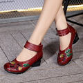 Folk style original woman leather pumps shoes Chinese embroidered retro women pumps medium heels vintage shoes