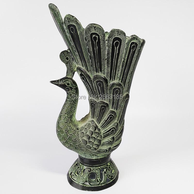 Китайский имитация старинной бронзы Lucky птица Феникс Jue чашки Кружка украшение дома Семья Маскоты Декор животных Коллекция