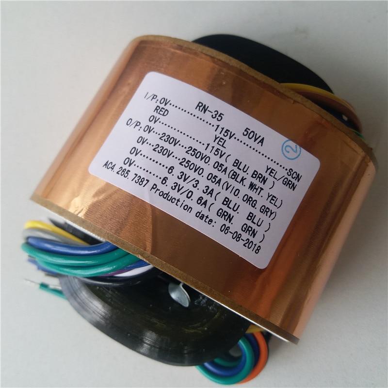 0 230V 250V 0.05A 6.3V 3.3A 6.3V 0.6A R Core Transformer custom transformer 115/115V 50VA copper shield output Power amplifier-in Transformers from Home Improvement    1