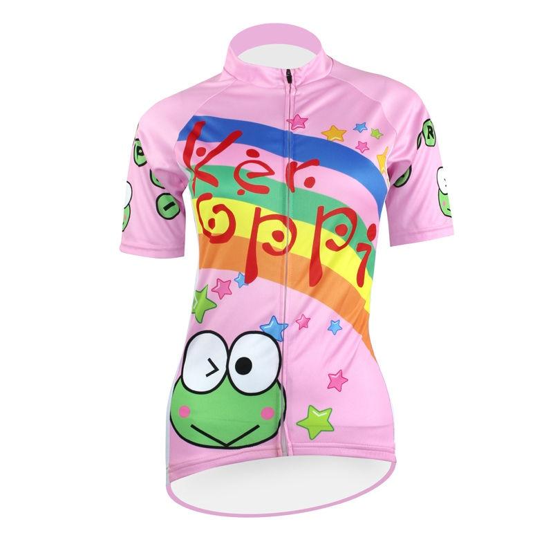 ФОТО 17 Cartoon Keroro Gunso Pattern Women Pink 2017 Sleeve new Spring Bicycle Jersey Size XS-5XL