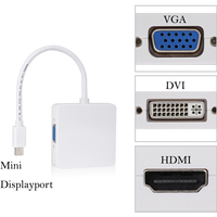 3 In 1 Mini DP DisplayPort To HDMI DVI VGA Display Port Cable Adapter For Apple