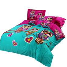 Svetanya Owl Duvet cover set kids Cartoon 3d bedding sets 3/5pc Cotton Quilt Cover and Pillowcases twin double queen king size(China)