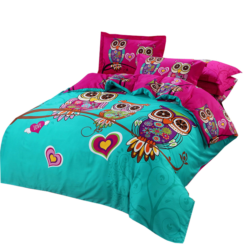 Svetanya Owl Duvet cover set kids Cartoon 3d bedding sets 3/5pc Cotton Quilt Cover and Pillowcases twin double queen king size
