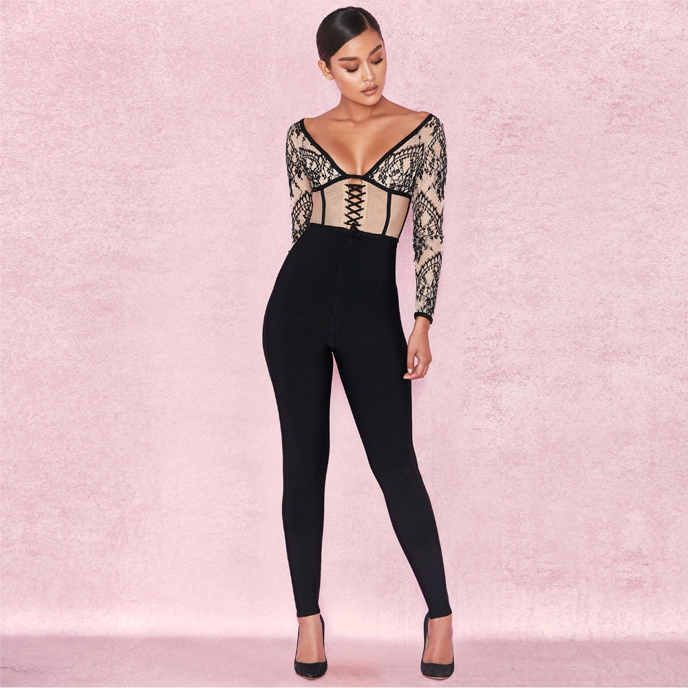 Jumpsuits Rompers Black Lace Patchwork Deep V Neck Long Sleeve Sexy Celebrity Evening Party Jumpsuit Runway Rompers Bodysuit