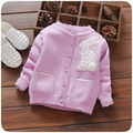 Fashion children sweater autumn winter warm girls knitted sweaters 3 colors red baby outwear