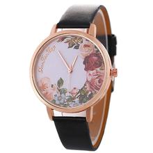 New Arrival Casual Women Jewelry Flower Pattern Faux Leather Band Analog Quartz