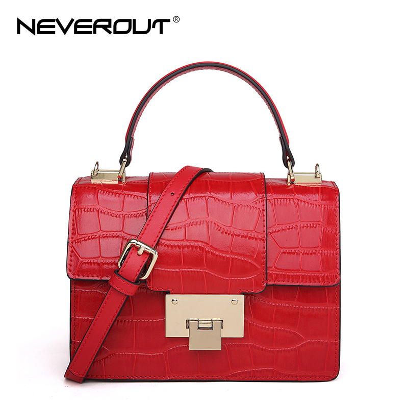 NeverOut New Women Small Flap Handbags Fashion Alligator Crossbody Bags Classic Leisure Versatile Split Leather Shoulder Bags