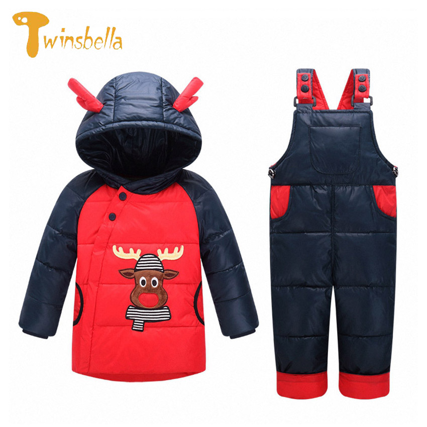 ФОТО TWINSBELLA Baby Clothing Set Winter 2017 New Girl Christmas Cartoon Warm Thick Down Jacket+Overall Boy 2PCS Hooded Clothes Suit