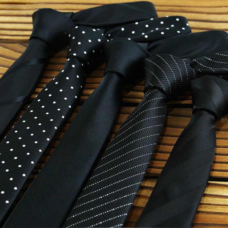 GUSLESON Заводская Распродажа 5 см мужские обтягивающие Галстуки Черные полиэфирные Шелковые клетчатые полосы точки жаккарда узкий галстук для шеи вечерние галстуки