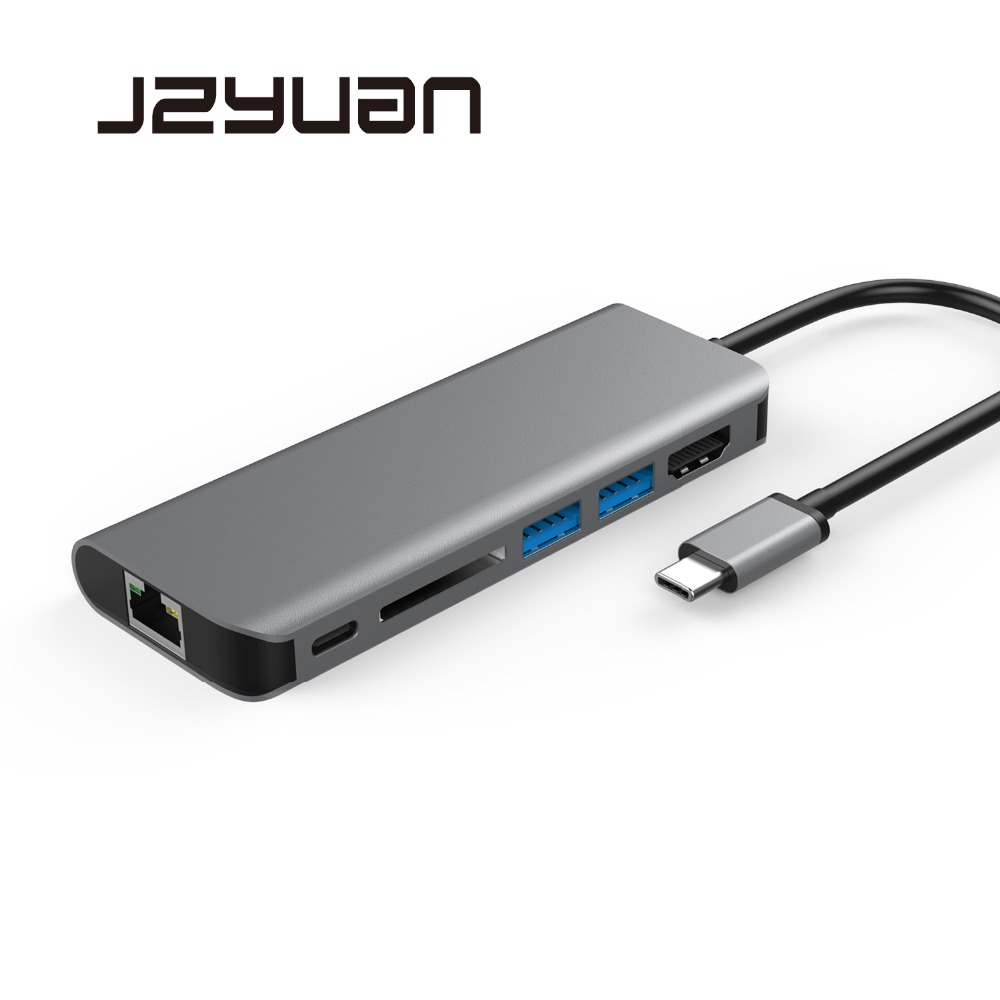 цена на JZYuan USB HUB USB C HUB HDMI Etehernet USB 3.0 PD Thunderbolt3 Adapter For Macbook Samsung Galaxy S9 S8 Huawei Mate 10 P20 Pro