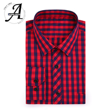 ФОТО 100% cotton men's plaid shirt slim fit long sleeve brand new fashion 2017 casual shirts male chemise homme camisa masculina