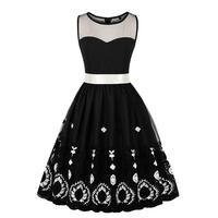 High Waist Elegant Black White Flower Floral Print Dress Retro Plus Size 3XL Polyester Summer Casual Print Black Bowknot Dress