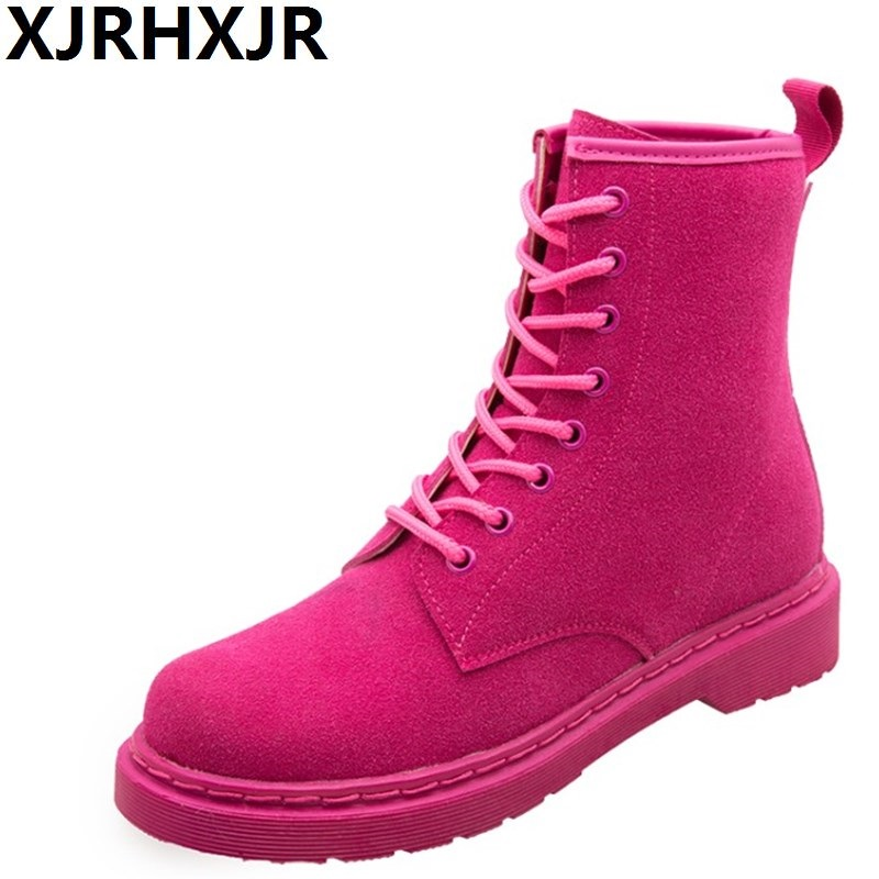 Pink Black Martin Boots Women Shoes Fashion Lace Up Flat Heel Suede Leather Short Boots Ladies Casual Shoes Riding Boots women ankle boots 2016 round toe autumn shoes booties lace up black and white ladies short 2017 flat fashion female new chinese