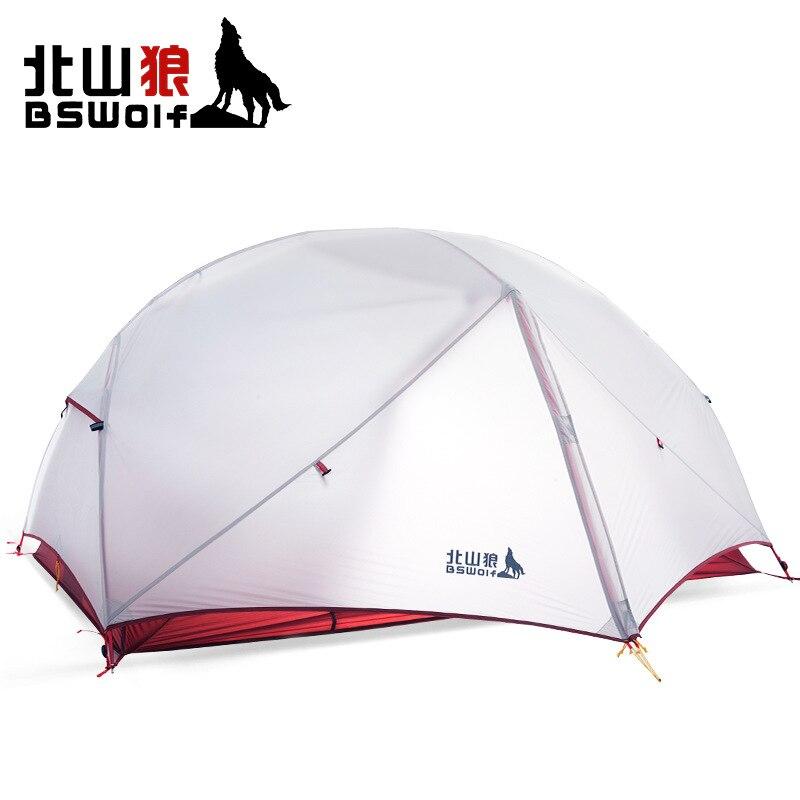 BSWolf 1-2personnes classique professionnel ultra léger en aluminium pôle tente de camping gris couleur avec 20D silicone/rouge avec 190 T