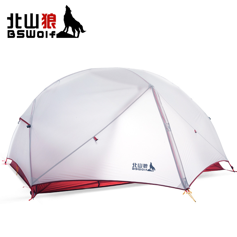 BSWolf 1-2persons classical professional ultra light aluminum pole camping tent grey color with 20D silicone/red with 190T high quality outdoor 2 person camping tent double layer aluminum rod ultralight tent with snow skirt oneroad windsnow 2 plus
