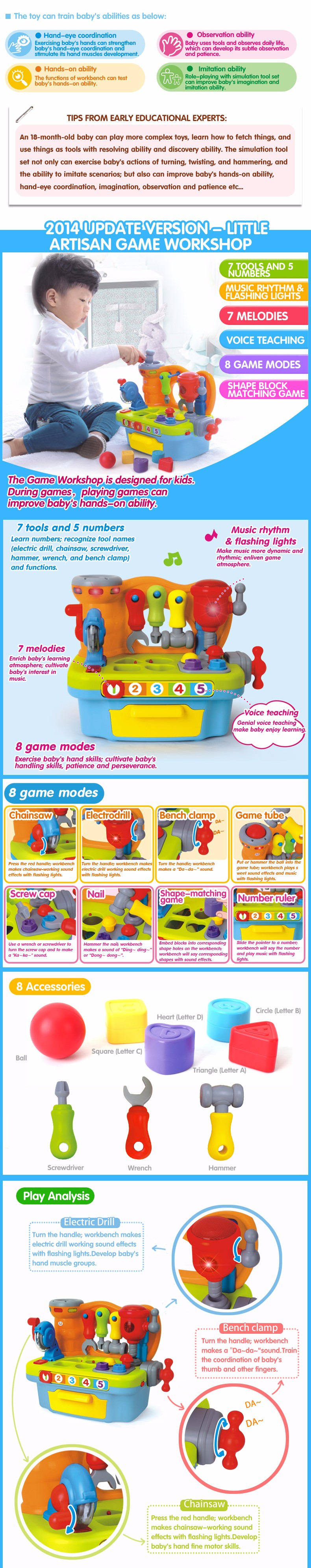 Baby Tools Toys Plastic Workbench Kids Pretend Play Tool Set