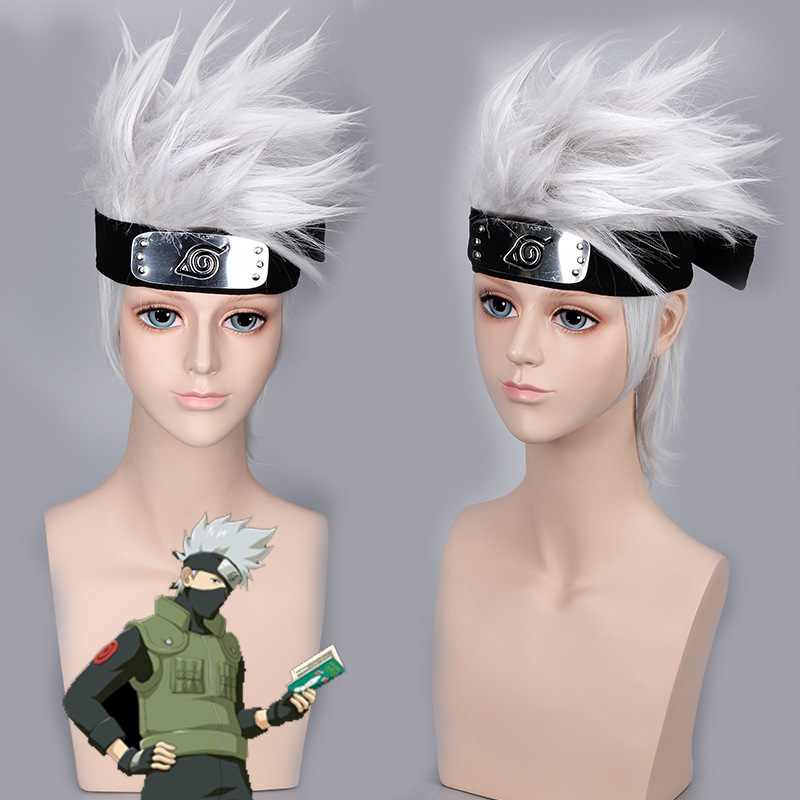 Anime NARUTO Kakashi Cosplay Wig Silver White Short Heat Resistant Sythentic Hair party role NARUTO play Wigs + Headband + mask