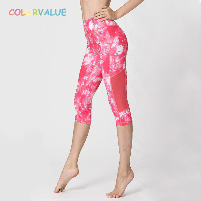 7be0aa52db431 Colorvalue 3D Printed Yoga Capri Pants Women Patchwork Mesh Flexible Cropped  Trousers Anti-sweat Fitness Athletic Leggings