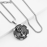 MCSAYS Hip Hop Jewelry Anchor Disc Pendant Box Chain Necklace Stainless Steel Charm Necklaces Mens Fashion