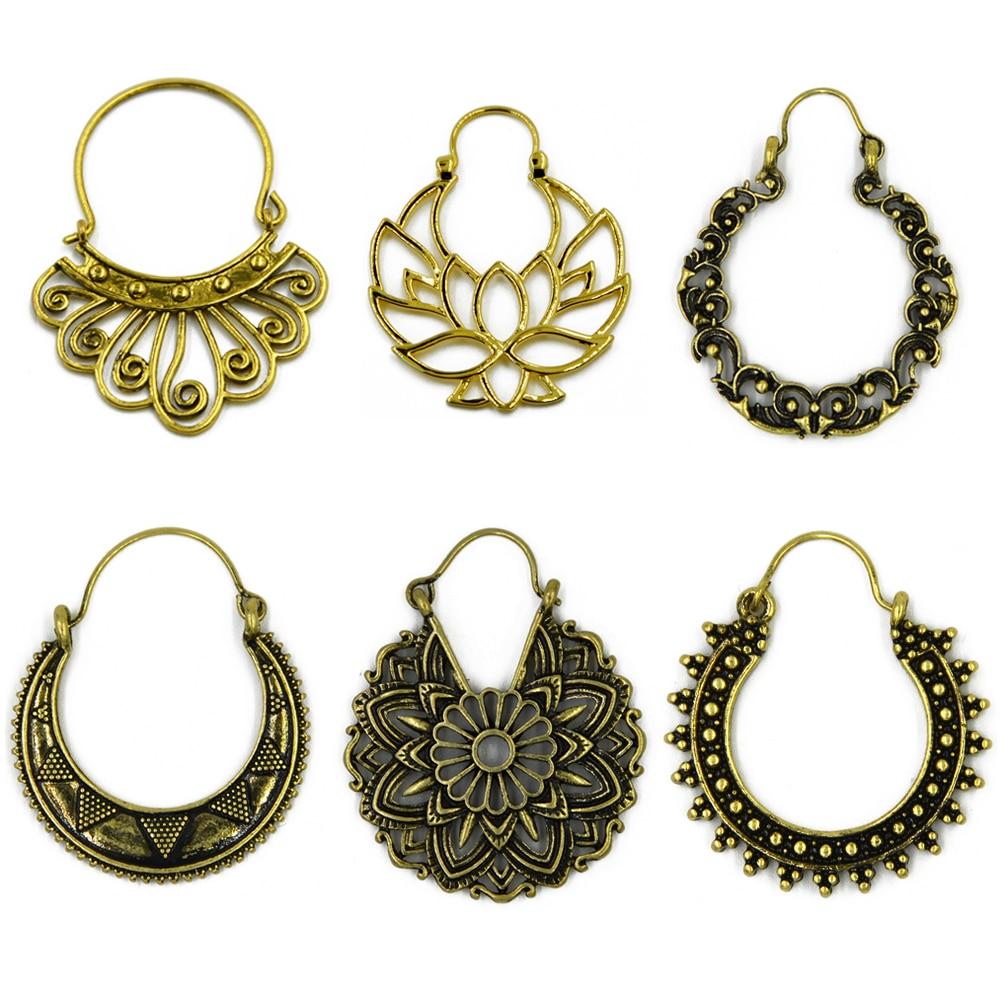 Very Brass Gold Tone Ornate Swirl Hoop Gypsy Indian Beaded Mandala  RM56