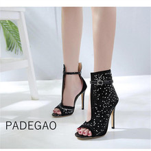 Women Shoes 2019 Summer Fashion Sexy Luxury Shoes Crystal Sexy Club High Heeel Black Womens Boots