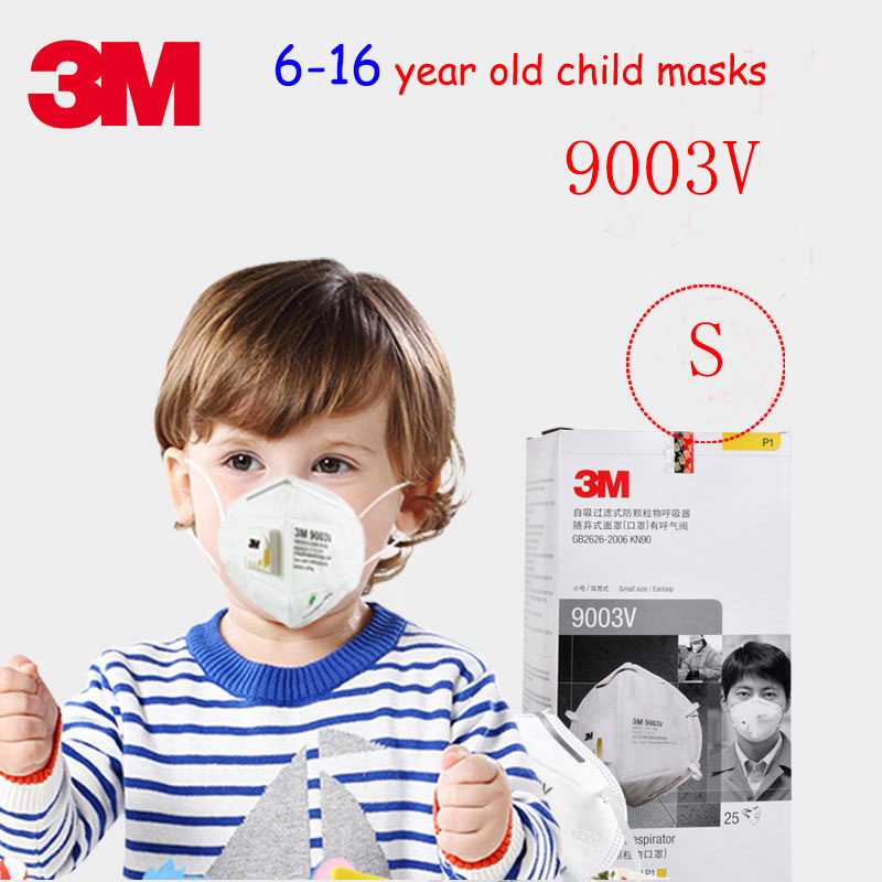 3M 9003V Children's section respirator mask With a breathing valve S code dust mask against dust particulates Children's masks 50pcs high quality dust fog haze oversized breathing valve loop tape anti dust face surgical masks