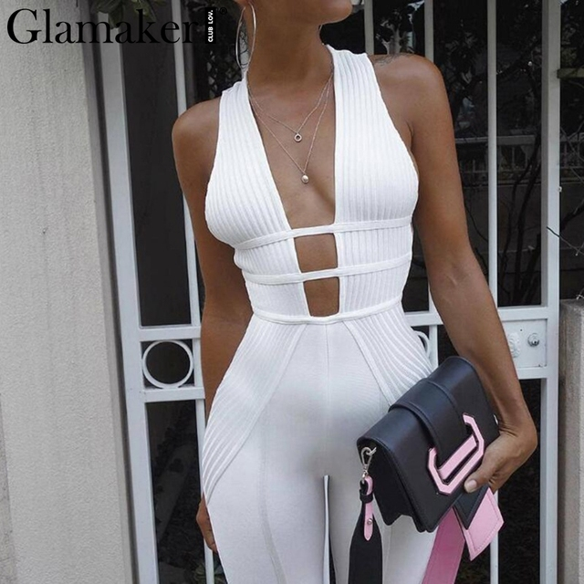 Glamaker Knitted v neck sexy jumpsuit Women bodycon jumpsuits & rompers Female elegant jumpsuit long bodysuit overalls jump suit