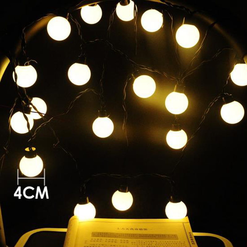 Dcloud 4CM big size 20 ball LED 5M String Black wire LED Starry Lights Christmas Wedding indoor outdoor Decor String Lighting