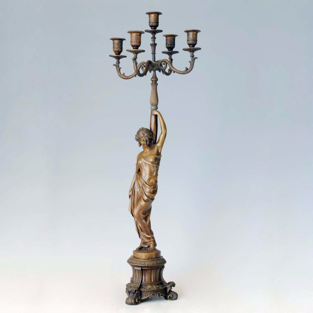 Atlie bronzes europe classical figurine candlesticks bronze statue candle holders sculpture business crafts chandelier candle in statues sculptures from