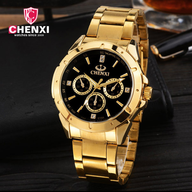 ... Relógios Relogios Masculino. Casual Men s Watches Chenxi Top Brand  Luxury Gold Watch Women Men Lover s Wristwatch Fashion 49f17ad0ff