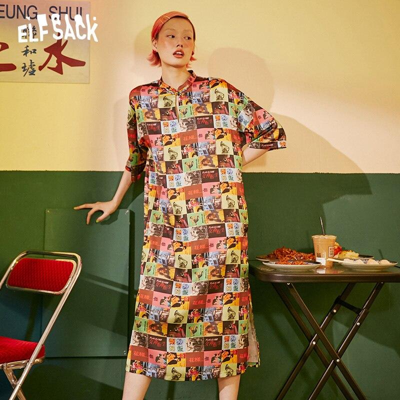 ELF SACK Vintage Print Casual Frauen Urlaub Kleid 2019 Mode Streetwear Übergroßen Weiblichen Kleider Sommer Hot Femme Strand Kleid-in Kleider aus Damenbekleidung bei  Gruppe 2