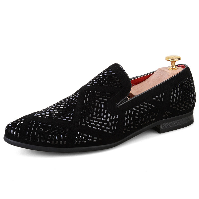 New Luxury Rhinestone Men Loafers Handmade Leather Pointed Toe Wedding Shoes Fashion Casual Men's Dress Shoes Big size 38 48