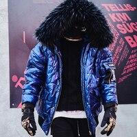 Big Fur Collar Men's Winter Coat Thick Parkas 2019 Fur Hoodie Coat Winter Jacket Men Padded Parka Homme Vintage Jacket Men