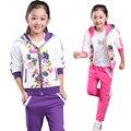 Meninas terno dos esportes Primavera outono conjunto de roupas meninas floral crianças terno conjunto casual two-piece terno esporte para menina agasalho crianças