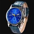 2016 New Hot Luxury Moda de Couro Falso de Crocodilo Dos Homens Analógico Relógio de Pulso Relógios reloj mujer marcas famosas