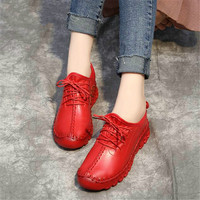 spring soft running shoes women's leather sports shoes girls lace flat Sneakers handmade white shoes Athletic Shoes YC 85